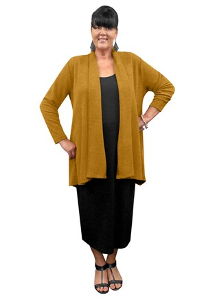 LIMITED STOCK - MUSTARD - Laura textured knit jacket