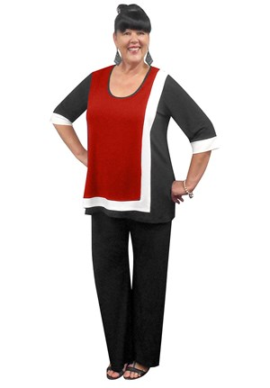 RED - Lorraine contrast tunic (soft knit jersey)