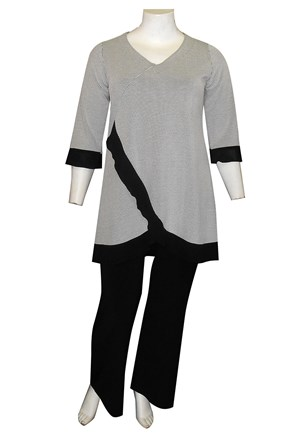 Margo jacquard tunic with contrast frills (textured knit)