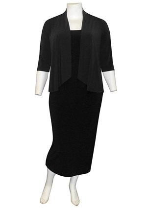 BLACK - Bella shorter waterfall shrug (soft knit jersey)