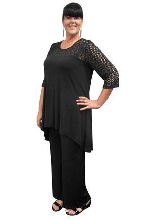 BLACK - Ava lace yoke tunic
