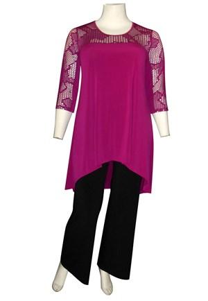 FUSCHIA - Ava lace yoke tunic