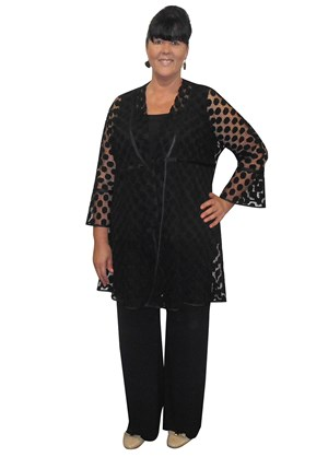 Ally embossed spot tie front cardi