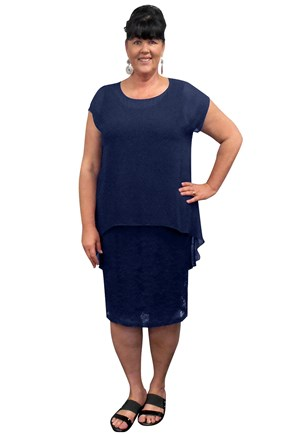 NAVY - Avalon stretch lace dress with chiffon overlay