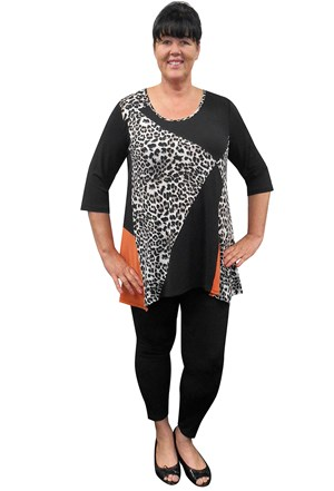 SOLD OUT - REPEAT COMING SOON - Keryn animal print and contrast tunic