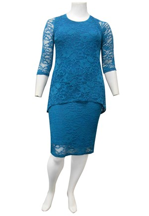 TEAL - Delaney double layered stretch lace dress