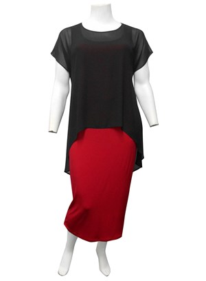 COMING SOON Chiffon Overlay Top RED