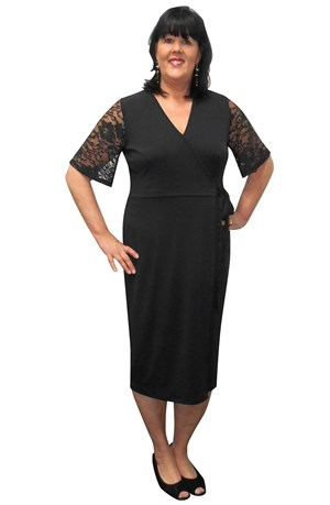 Karen lace trim wrap dress