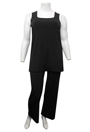 BLACK - Rhonda square neck soft knit tunic length singlet