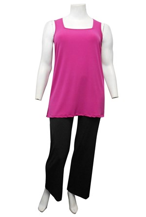 KK PINK - Rhonda square neck soft knit tunic length singlet