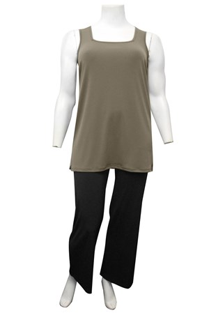 KHAKI - Rhonda square neck soft knit tunic length singlet
