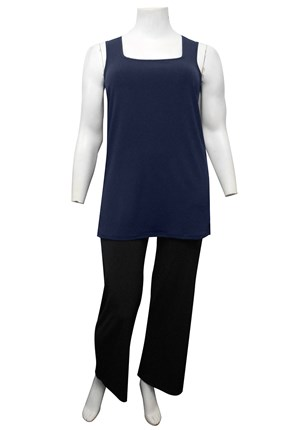 NAVY - Rhonda square neck soft knit tunic length singlet