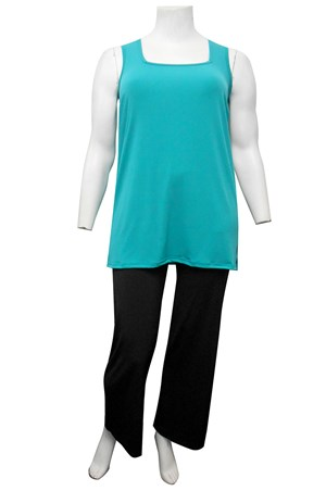 ULTRAMARINE - Rhonda square neck soft knit tunic length singlet