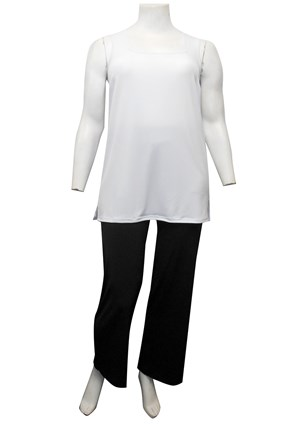 WHITE - Rhonda square neck soft knit tunic length singlet