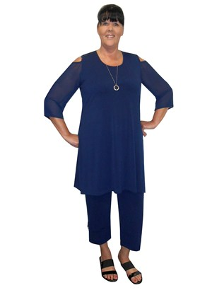 LIMITED STOCK - NAVY - Kelsea soft knit tunic with high side splits