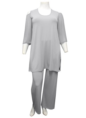 LIMITED STOCK - SILVER - Kelsea soft knit tunic with high side splits