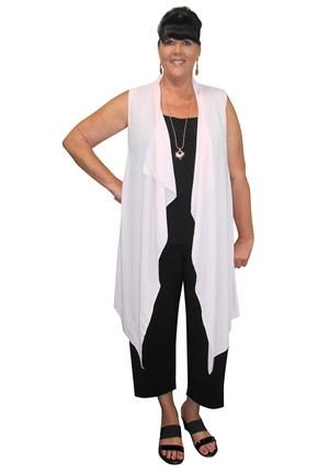 Betty plain opaque chiffon waterfall vest
