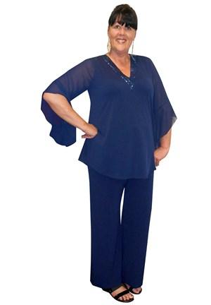 NAVY - Gloria V neck glomesh trim soft knit top
