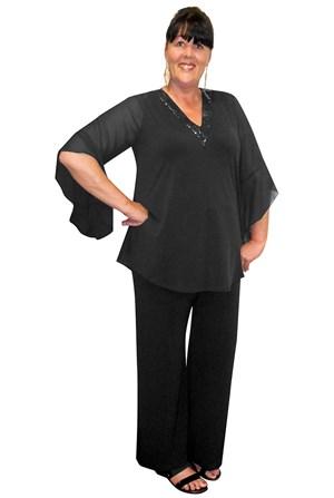 Gloria V neck glomesh trim soft knit top