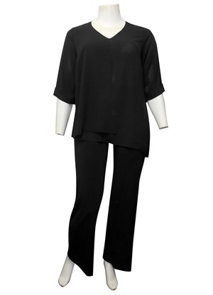 BLACK - Bronwyn V neck double layer DG top