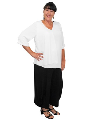 WHITE - Bronwyn V neck double layer DG top
