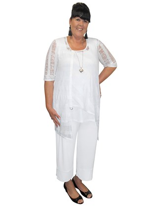 WHITE - Danii tunic with cotton tape and ring detail