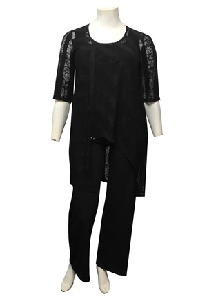 BLACK - Danii tunic with cotton tape and ring detail