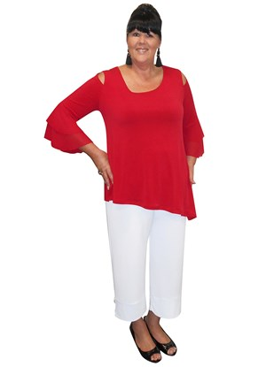 RED - Anna soft knit top with split sides and double chiffon frill sleeves