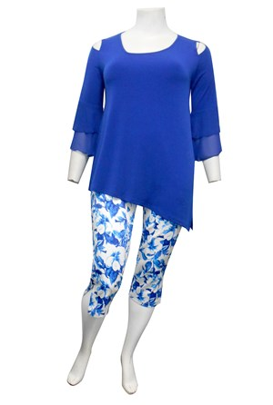 ROYAL - Anna soft knit top with split sides and double chiffon frill sleeves