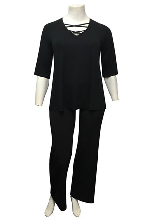 BLACK - Sarah silky knit cross over neck top