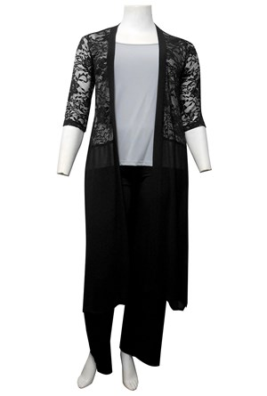 LIMITED STOCK - BLACK - Brooke lace and chiffon long cardigan