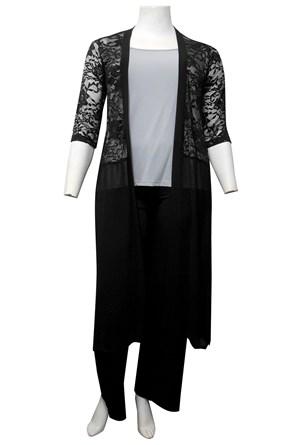 BLACK - Brooke lace and chiffon long cardigan