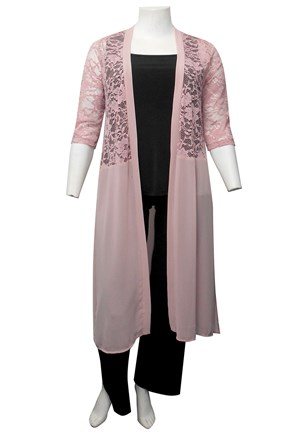 LIMITED STOCK - BLUSH - Brooke lace and chiffon long cardigan