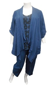 RTM 1-2475 LINEN Jacket in BLUE, also available in RUST