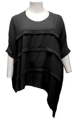 BLACK RTM 2476 Chiffon Layered Top also available in: HOT PINK, LIME, WHITE