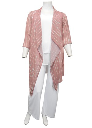 SHELL STRIPE - Liana printed shrug with waterfall front
