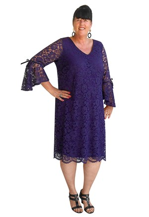 CLICK TO SEE COLOURS - Margo lace dress with frill sleeves