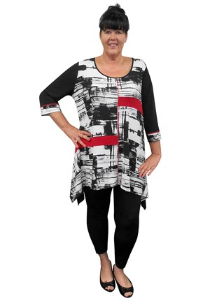 SOLD OUT - REPEAT COMING SOON - Vera contrast angle hem tunic (soft knit jersey)