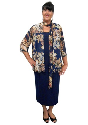 Marie printed chiffon shrug with scarf