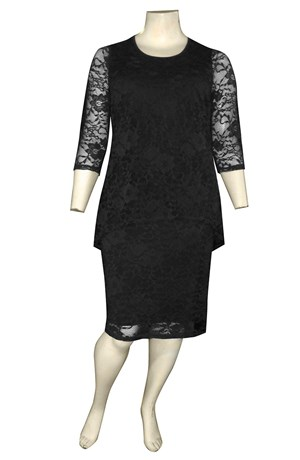 BLACK - Delaney double layered stretch lace dress