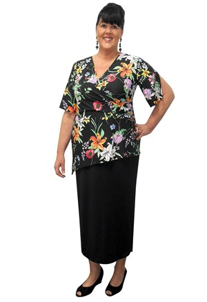 BRIGHT FLORAL PRINT - Sam angle hem top with D rings