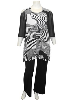 Kelsea printed soft knit tunic with high side splits
