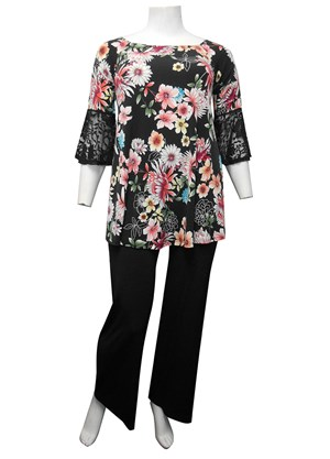 PRINT 561 - Billie wide neck printed knit top with lace sleeves