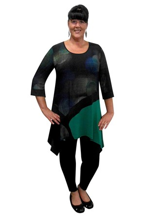 Shirley contrast soft knit print angle tunic