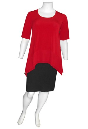 SEX RED - Vivian soft knit and double chiffon hem tunic