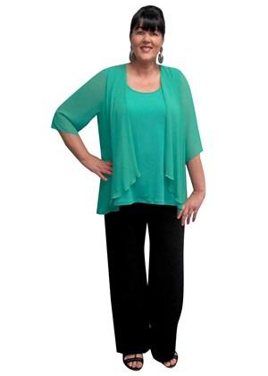 EMERALD - Linda 2 in 1 chiffon overlay tunic