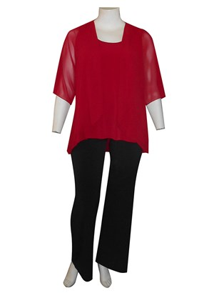RED - Linda 2 in 1 chiffon overlay tunic