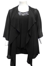 BLACK - Jenny chiffon waterfall shrug