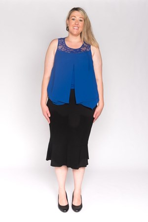 Ponti pencil skirt with circular frill
