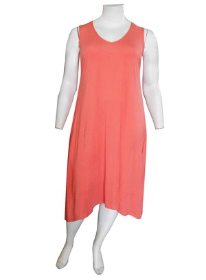 CORAL - Joanna silky knit A-line dress